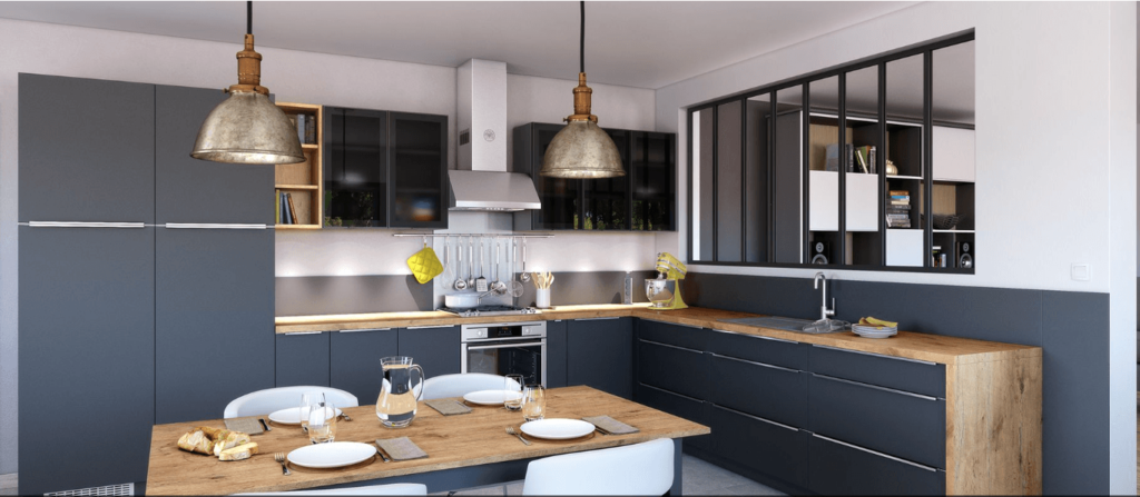 cuisine grise et bois avec verrière