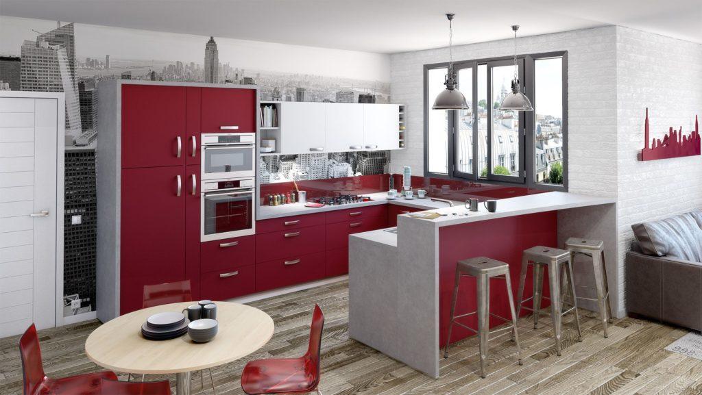 Cuisine rouge bordeaux et gris beton