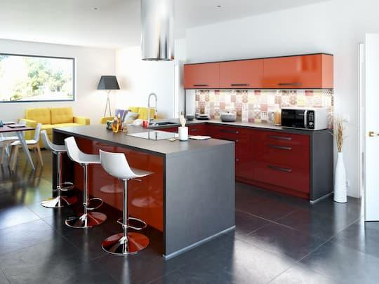 Cuisine rouge et grise cusiniste à La Rochelle ADOM Concept