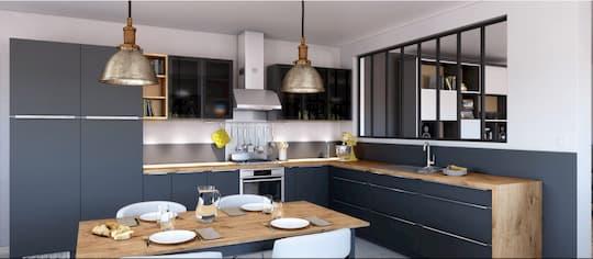 Cuisine moderne style industriel cuisiniste à La Rochelle