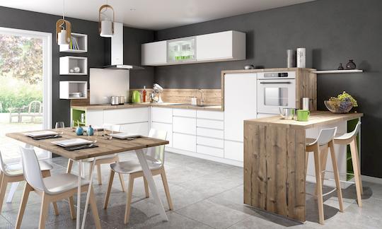 cuisine blanche et bois Adom concept cuisiniste à La Rochelle