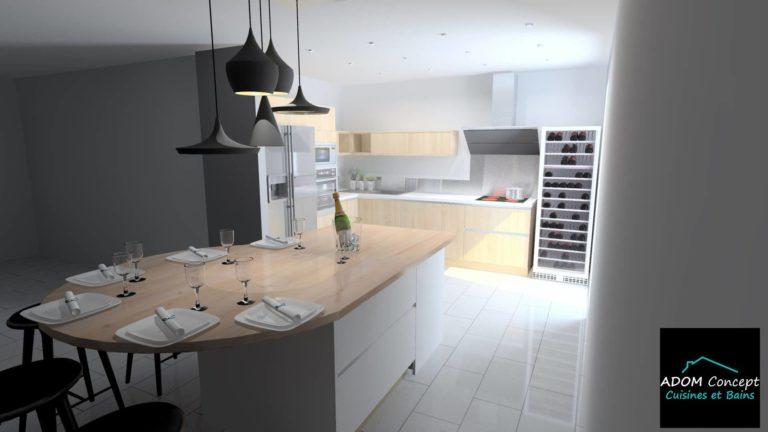 cuisine bois massif et céramique Adom Concept La Rochelle