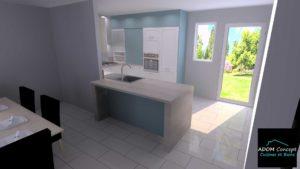cuisine îlot bleu et bois portes à cadres blanches