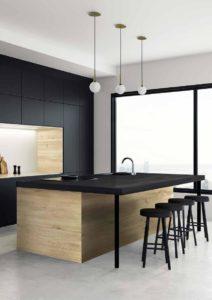 cuisine moderne noire et bois