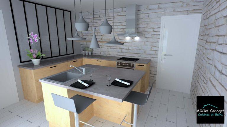 cuisine bois et béton foncé