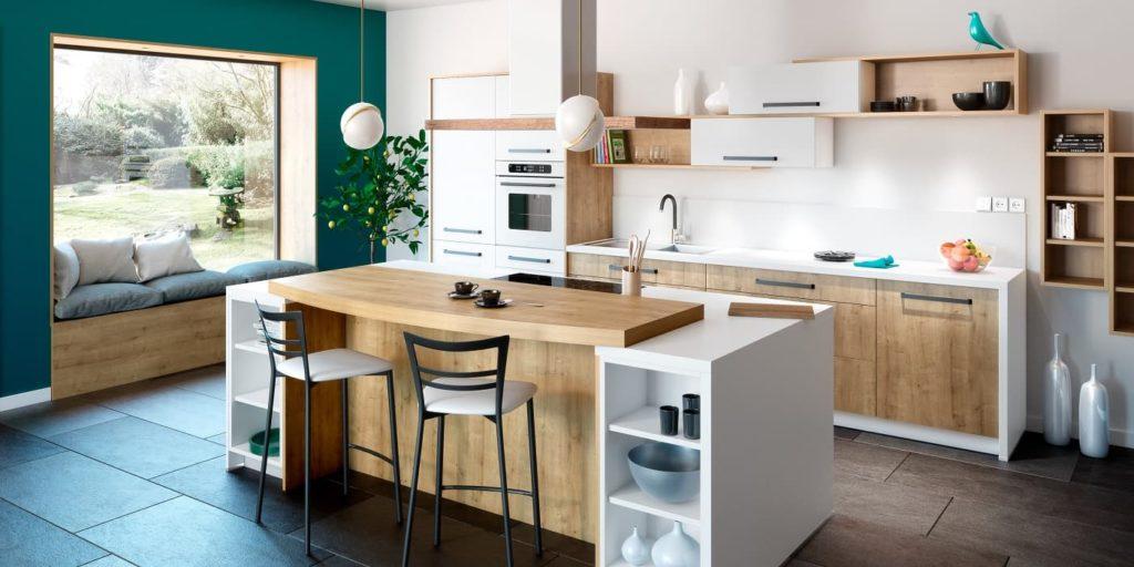 cuisine scandinave blanche et bois