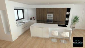 belle cuisine blanche et bois